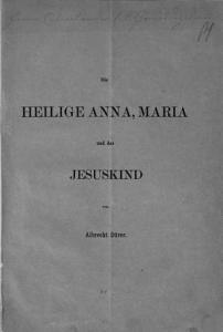 Die heilige Anna  Maria und das Jesuskind von Albrecht D  rer PDF