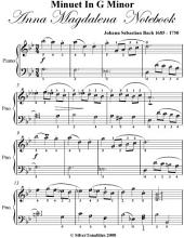 Minuet In G Minor Anna Magdalena Notebook Easy Piano Sheet Music