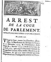 Arrest De La Cour De Parlement: Extrait Des Registres De Parlement. Du 9 Juillet 1756