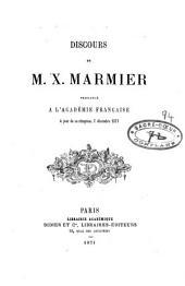 Discours prononcé à l'Académie Française le jour de sa réception, 7 décembre 1871