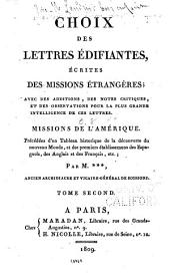 Choix des lettres édifiantes: Missions de l'Amérique