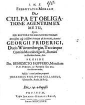 Exercitatio mor. de culpa et obligatione agentium ex metu