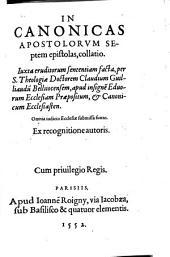 In Canonicas Apostolorum septem epistolas, collatio