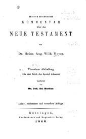 Kritisch exegetisches Handbuch über die drei Briefe des Apostel Johannes