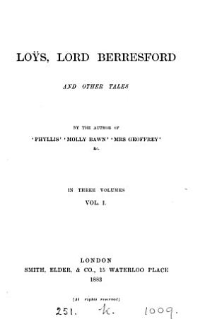 Lo  s  lord Berresford  and other tales  by the author of  Phyllis   PDF