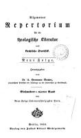 Allgemeines Repertorium f  r die theologische Literatur und kirchliche Statistik PDF