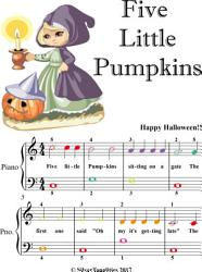 Five Little Pumpkins Easiest Piano Sheet Music with Colored Notes PDF