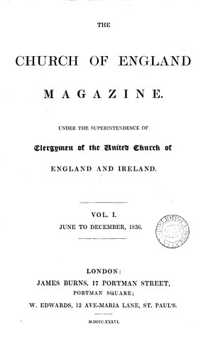 The Church of England magazine  afterw   The Church of England and Lambeth magazine
