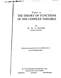 Topics in the Theory of Functions of One Complex Variable
