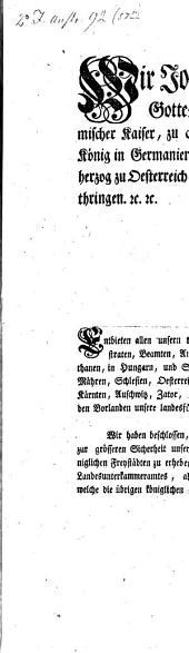 Wir Joseph der Zweyte, von Gottes Gnaden erwählter Römischer Kaiser... Entbieten allen unsern treugehorsamsten Ständen... Unsere landesfürstliche Gnade: §.1. Wir haben beschlossen, die Festungen Theresienstadt und Pleß... Zu königlichen Freystädten zu erheben...