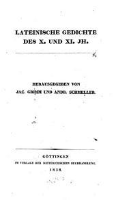 Lateinische Gedichte des X. und XI. Jh