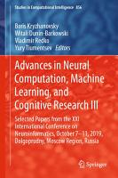 Advances in Neural Computation  Machine Learning  and Cognitive Research III PDF