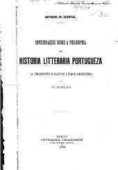 Considerações sobre a philosophia da historia litteraria portugueza: (a proposito d'alguns livros recentes)
