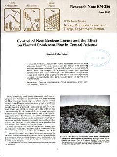 Control of New Mexican Locust and the Effect on Planted Ponderosa Pine in Central Arizona Book