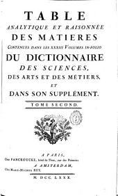 Table analytique et raisonnée des matieres contenues dans les XXIII volumes... du dictionnaire des sciences, des arts, et des métiers et dans son supplement: Volume2