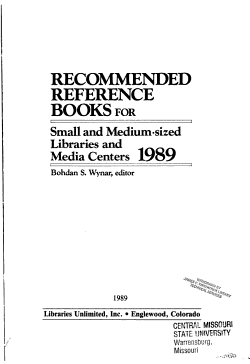 Recommended Reference Books for Small and Medium Sized Libraries and Media Centers  1989 PDF