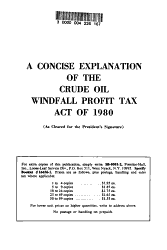 A Concise Explanation Of The Crude Oil Windfall Profit Tax Act Of 1980 Book PDF