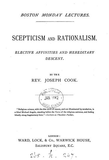 Scepticism and rationalism  Elective affinities and hereditary descent PDF