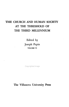 The Church and Human Society at the Threshold of the Third Millennium PDF