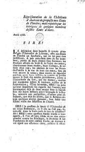 Réprésentation de la châtélenie d'Audenarde, proposée aux Etats de Flandre; mais rejettée par les intrigues de quelques membres desdits Etats d'alors. Avril 1788