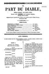 La part du Diable: opéra-comique, en trois actes