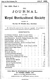 Journal of the Royal Horticultural Society