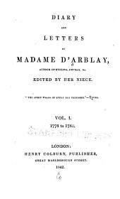 Diary and Letters of Madame D'Arblay: Volume 1