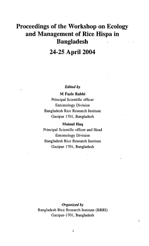 Proceedings of the Workshop on Ecology and Management of Rice Hispa in Bangladesh  24 25 April  2004 PDF