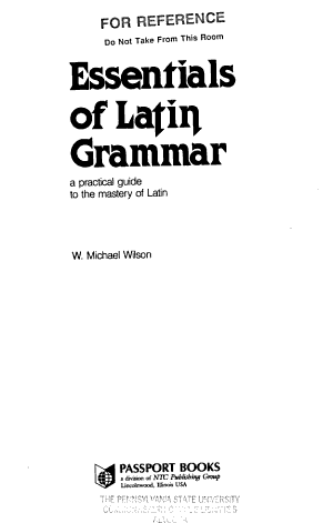 Essentials of Latin Grammar