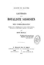 Lettres d'un royaliste savoisien à ses compatriotes