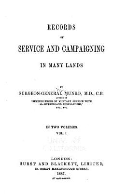 Records of Service and Campaigning in Many Lands