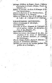 Catalogue des livres de feu Monsieur Cholier de Cibeins, Président en la Cour des Monnoies, &c
