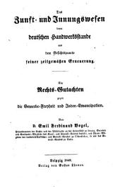 Das Zunft- und Innungswesen beim deutschen Handwerksstande