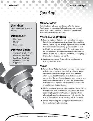 Writing Lesson Level 1  Spacing PDF