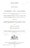 Return of Accidents and Casualties as Reported to the Board of Trade by the Several Railway Companies in the United Kingdom     for the Quarter Ending     PDF