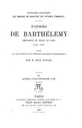 Papiers du Barthélemy: Volume4