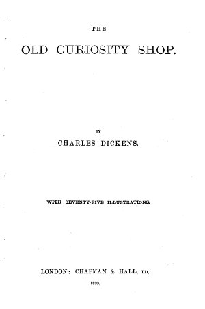 Dickens  The Old curiosity shop