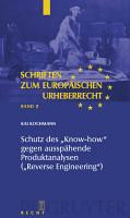 Schutz des  Know how  gegen aussp  hende Produktanalysen   Reverse Engineering   PDF