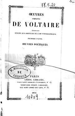 Oeuvres completes de Voltaire edition dediee aux amateurs de l art typographique PDF