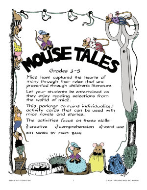 MOUSE TALES  ACT  FOR MOUSE NOVELS   STORIES  Gr  3 5 PDF