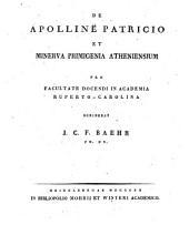De Apolline Patricio et Minerva Primigenia Atheniensium