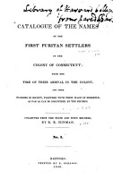 A Catalogue of the Names of the First Puritan Settlers of the Colony of Connecticut PDF