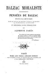 Balzac moraliste: pensées de Balzac