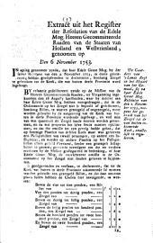 Resolutie. De gaarders van 'slands regt op het middel van het gemaal, sig na haar [...] resolutie van den 2 november 1753, noopens het gebruik van het zeegel tot de van buiten inkoomende koek, exactelijk te reguleeren. 6 november 1753