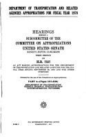 Department of Transportation and Related Agencies Appropriations for Fiscal Year 1978 PDF