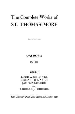 The Complete Works Of St Thomas More