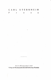 Prosa. Berlin-Wilmersdorf. Die Aktion 1918. 46 S.