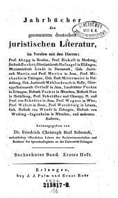 Jahrbücher der gesammten deutschen juristischen Literatur: Band 16