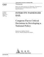Intercity passenger rail Congress faces critical decisions in developing a national policy PDF