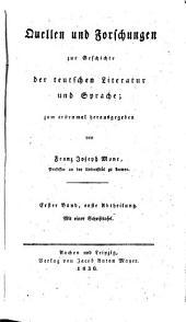 Quellen und Forschungen zur Geschichte der Teutschen Literatur und Sprache